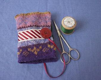 Felted wool and reclaimed fabric sewing needle book, purple and mauves needle case
