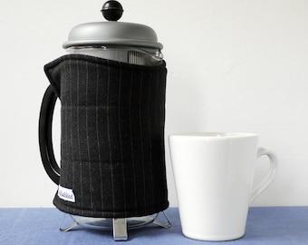 Pinstripe dark grey wool, medium coffee pot cosy, reclaimed fabric, eco cafetiere cozy
