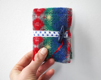 Felted wool needle book, red, green, grey, yellow and blue, reclaimed fabric sewing accessory