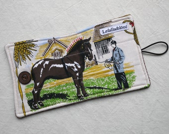 SMALL coffee pot cosy, Shire Horse on show, reclaimed fabric fun, upcycled and eco