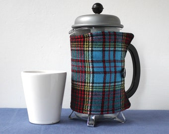 Blue and red tartan Scottish wool coffee pot cosy, repurposed fabric, medium cafetiere cover