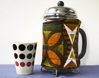LARGE coffee pot cosy, reclaimed vintage 1960s fabric in browns and greens, eco cafetiere cozy