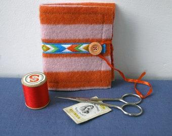 Stripy orange felted wool needle book, handy upcycled sewing accessory,  felt needle case