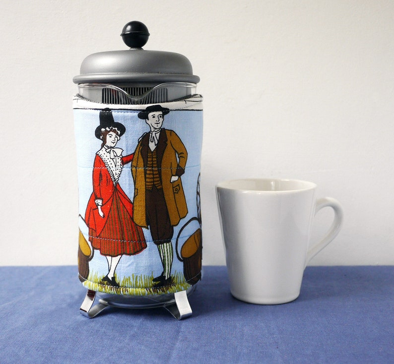 Welsh couple coffee pot cozy recycled fabric harp and image 0