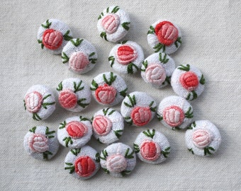 Rose flower buttons, hand embroidered, vintage embroidery 15mm, 6/8 inch