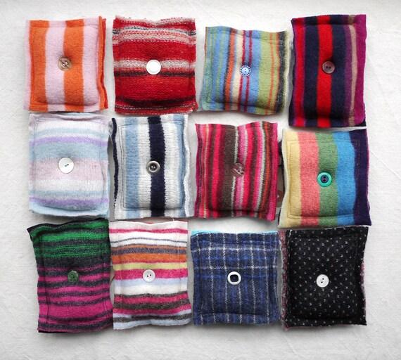 Rose, orange et vert à motifs en en en laine feutrée à l'aiguille cas, tissu récupéré à l'aiguille organisateur f79615