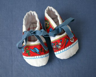 Fun baby shoes, sweet fabric baby slippers, upcycled cotton