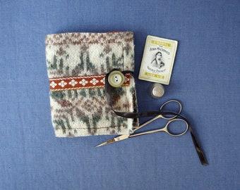 Cream, brown and green Fair Isle wool needle case, handmade and handy sewing organiser