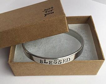 Blessed Bracelet. Blessed Cuff Bracelet. Christian Bracelet. Faith Bracelet. Inspirational Cuff Bracelet. Mantra Band
