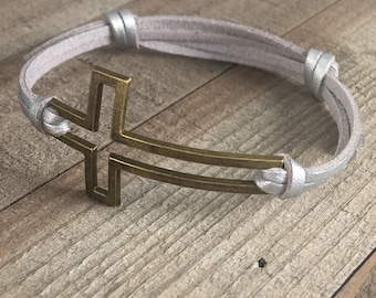 Modern Stainless Steel Rose Gold Tone Sideways Cross Cuff Bangle Bracelet With Gift Pouch