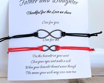 Father daughter matching infinity bracelets, Father daughter bracelet set, Daddy and me matching bracelets, Matching wish bracelets