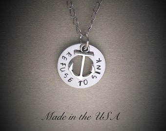 Refuse to sink necklace, nautical necklace