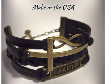 Sideways cross infinity faith stacked leather bracelet Christian jewelry Religious jewelry Confirmation gift Christian bracelet