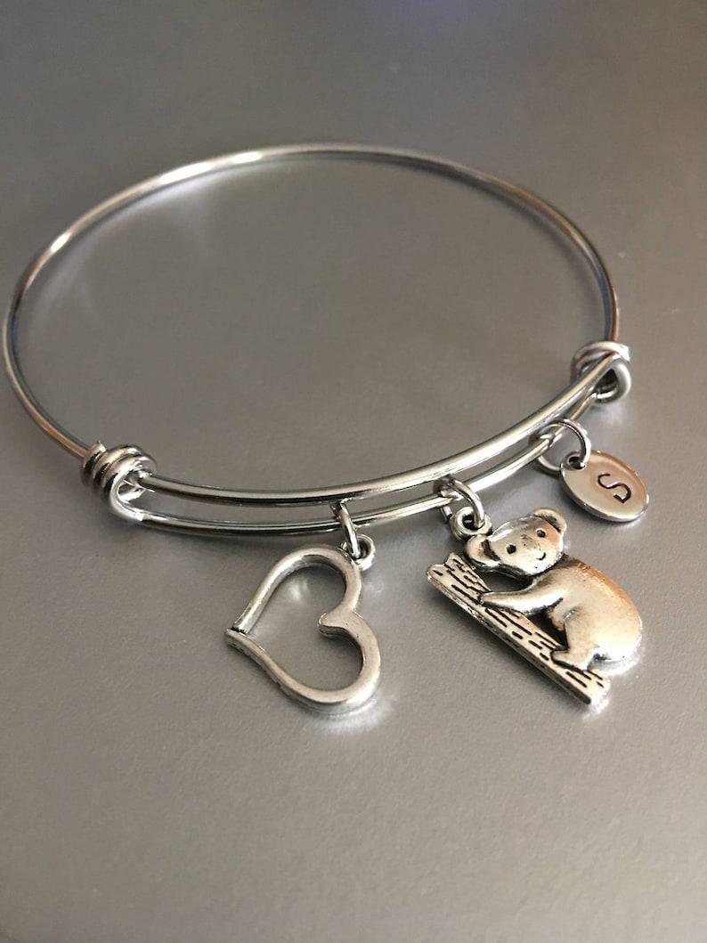 Koala bear bracelet,Koala bear charm,Monogram,gift for her Bear bracelet Bracelet,Friendship bracelet Personalized,Charm bracelet,Gift
