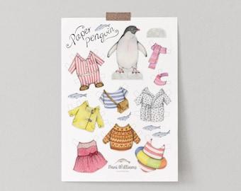 Penguin paper doll