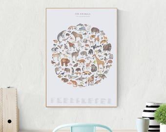 Wildlife poster print - 100 watercolour animals