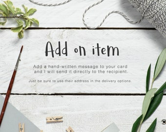 Add a hand-written message to any card - add on item