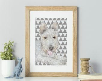 Pet portrait in watercolour - original custom painting of dog, cat, horse