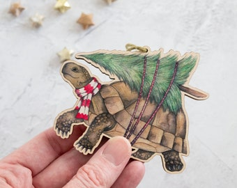 Tortoise Christmas decoration - laser cut wooden ornament