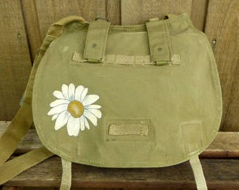 Grunge Daisy - Canvas Military Messenger Bag Purse - Hand Painted Purse