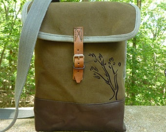 Vintage Canvas Swiss Army Satchel   Messenger Bag with Hand Painted  Abstract Tree. Waterproof Interior. IPad bag. eb6eb76b11