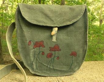 Messenger Bag Purse   Hand Painted Poppies   Vintage European Military  Crossbody Bag 89af8fe850