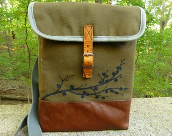 Vintage Canvas Army Satchel   Messenger Bag Purse with Cherry Blossoms.  Waterproof Interior. IPad bag. 436d28a0ee