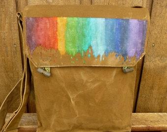 Rainbow Gay Pride Bag   Satchel   Purse. Vintage Military Canvas Messenger  Bag, Hand Painted, Paint Splattter 880e06a82b
