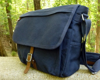 Canvas and Leather Messenger Laptop Bag - Custom Hand Painted Art -  Alternative Aparrel 98ea05597f