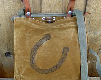 Horseshoe Art - Horse lover - Canvas and Leather Swiss Military Messenger  Bag   Satchel. Hand Painted. 019f507f48