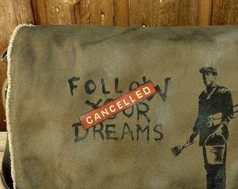 Canvas Messenger Bag - Banksy Dreams Cancelled, Hand Painted