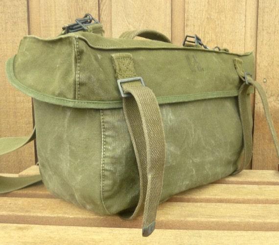 Clean and Sanitized Vintage Canvas Army Messenger Bag  Man bag  Satchel  Purse