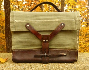 Vintage Canvas and Leather Swiss Military Messenger Bag - iPad / tablet perfect