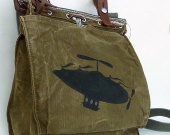 Ground Control.... Canvas and Leather Military Bag. Hand Painted Art.