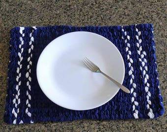 Nautical Twined Woven Reversible Placemat in Navy and White