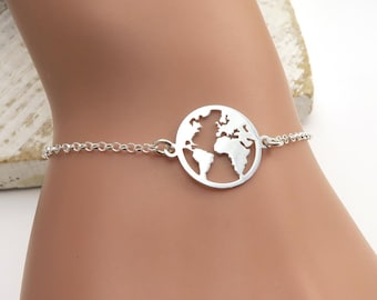 World Map Bracelet Etsy