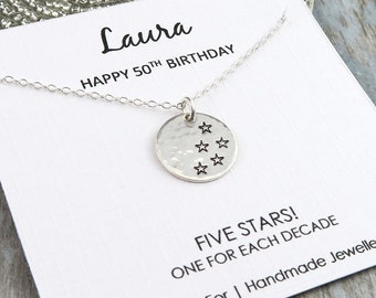 50th Birthday Necklace Sterling Silver Jewellery Star Disc Personalised Gift For Her