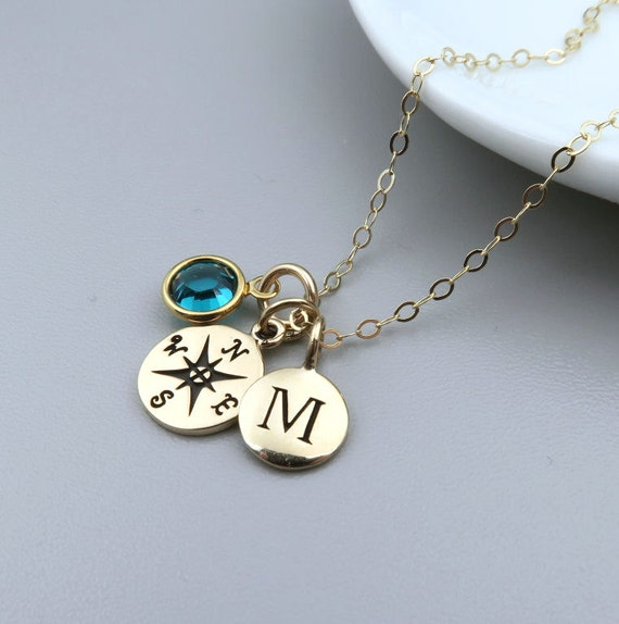 Gold Compass Necklace Personalized Compass Initial Birthstone