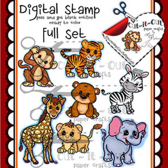 My Complete Zoo Animal Collection Digital Stamps Line Art