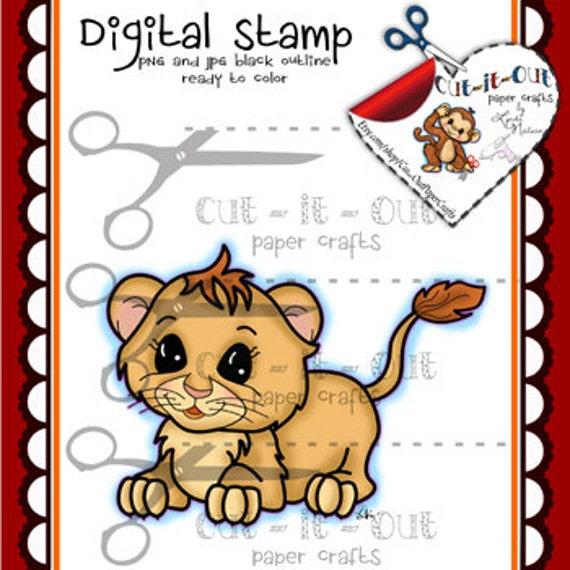 Sello Digital poco León animales de zoológico Digi cachorro | Etsy