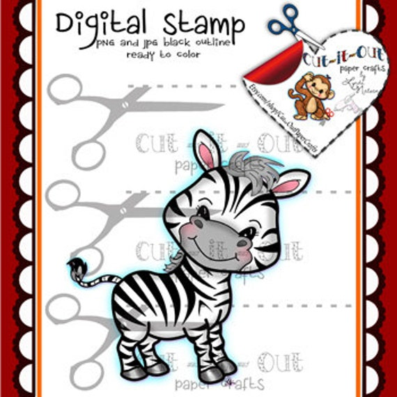 Sello Digital Zebra, animales de zoológico, cebra Linda Digi ...