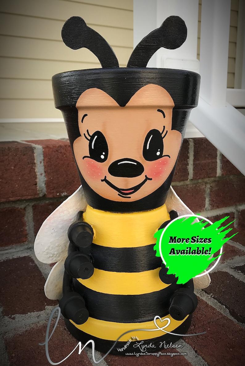 Clay Pot BUMBLE BEE Hand Painted Terra Cotta Pots Pot Heads image 0