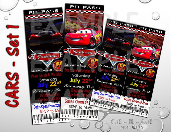 Cars 3 Birthday Invite Disney Invitation Custom