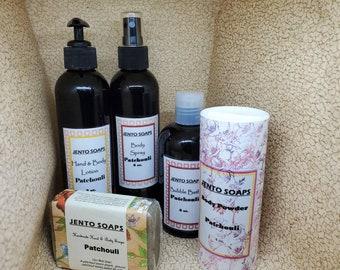 Patchouli gift collection, patchouli lotion, body mist, body powder, soap and bubble bath
