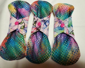 Rainbow cloth maxi pads with orchid PUL fabric on back, bamboo fleece and soft shell fleece in core,soft cotton on top, maxi pad, cloth pads