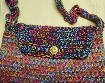 Large purse with colors of burgandy, blue, green, pink orange and gold, one of a kind purse, large shoulder strap purse, light weight purse