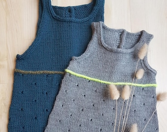 Pois Plume baby rompers - pdf knitting pattern - English & French
