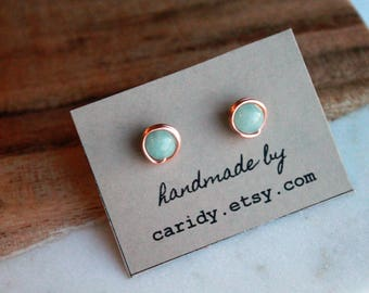 Mint Quartzite and Copper Stud Earrings, gemstone stud earrings, gemstone studs, natural stone stud earrings, gift for her, christmas gift