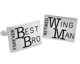Best Man Engraved Cufflinks, Personalized Groomsmen Cufflinks, Engraved Custom Cuff Link Set for Groom, Husband, Men, Wedding Party Gift