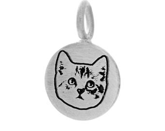 Pet Portrait Necklace for Fur Mama, Personalized Pet Charm, Animal Lovers, Pet Loss, Gift for Women, Cat Portrait, Kitty, Best Friend